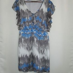 GLAM Sheer Dress Cover up Ruffle Tie at Neck Dress